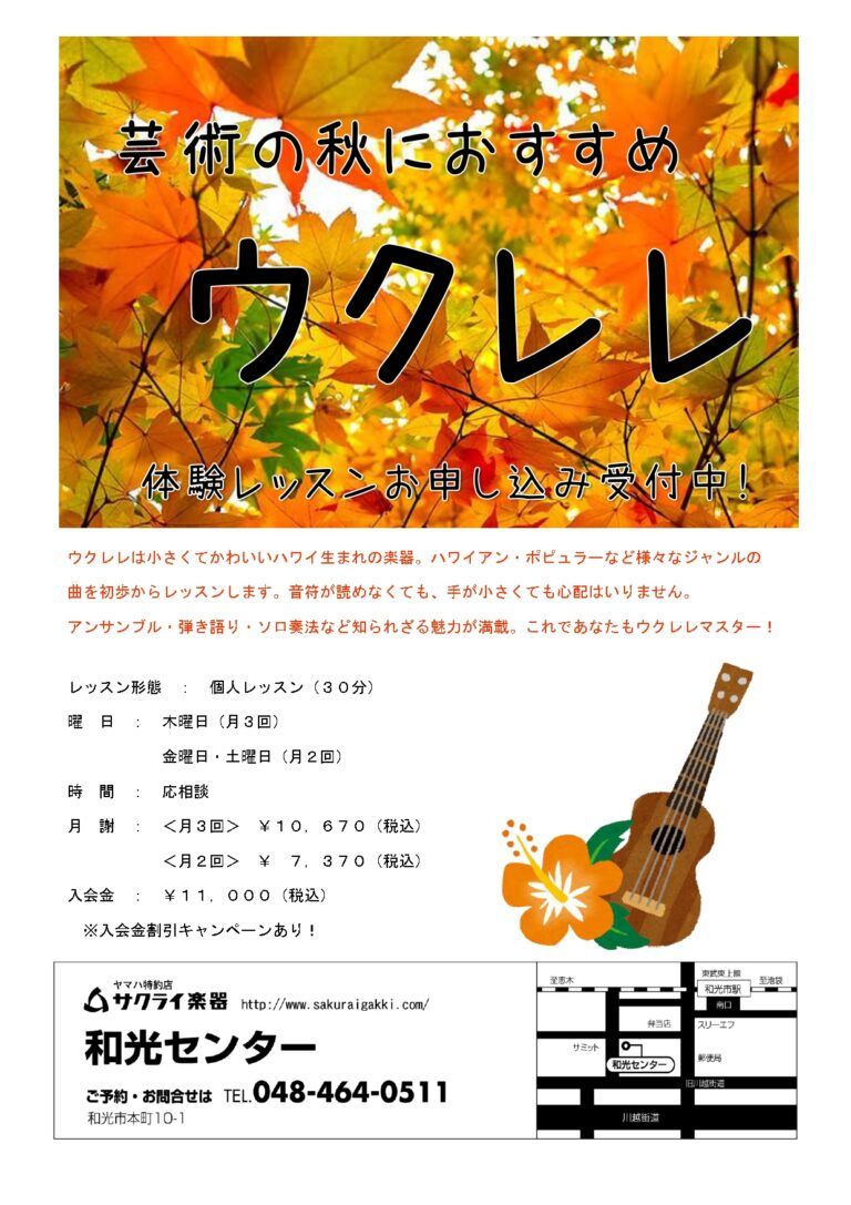 芸術の秋におすすめ🍂ウクレレレッスン